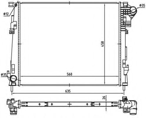 Радиатор охлаждения Nissan Primastar 2006- (2.0 CDTI) плоские соты KEMP