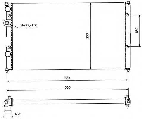 Радиатор охлаждения Seat Ibiza (1.9 D) 627*377мм по сотах KEMP