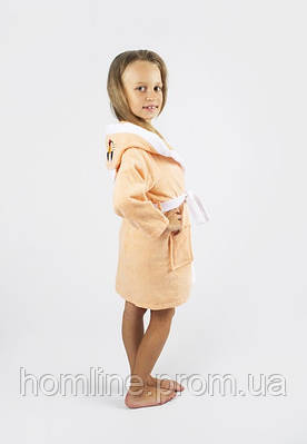 Халат детский махровый Lotus 8-10 лет Зайка персиковый 380 гр/м2