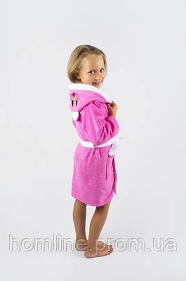Халат детский махровый Lotus 8-10 лет Зайка розовый 380 гр/м2