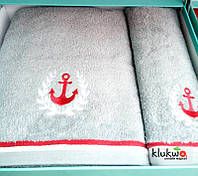 Набор махровых полотенец Hobby банное и лицевое серые
