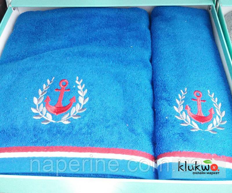 Набор махровых полотенец Hobby банное и лицевое синие