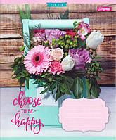 """Тетради 18 листов клетка """"Happy Flowers"""""""