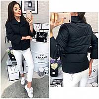 Куртка женская стильная с завязками 345 (холофайбер)