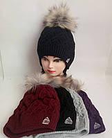 Детская вязаная шапка на флисе для девочки р 54-56