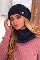 Женский комплект «Дуглас» шапка и шарф-хомут в разных цветах