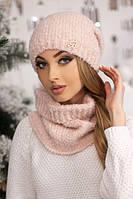 Женский комплект «Шарлин» шапка и шарф-хомут в разных цветах