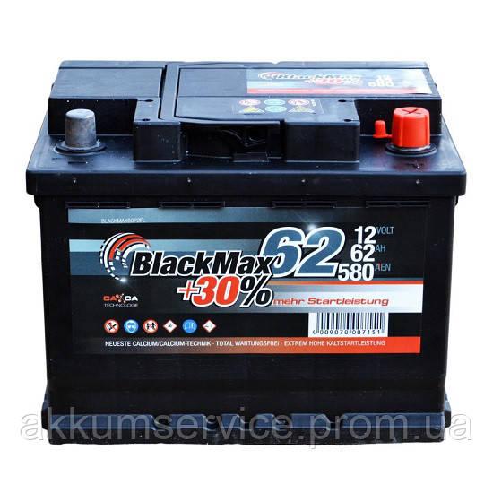 Аккумулятор автомобильный Black Max 62AH R+ 580A