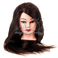 Учебная голова-манекен для причесок, длина 65-70 см, темный шатен