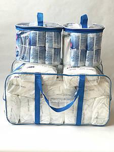 Набор из 3 прозрачных сумок в роддом - XL Синяя + Органайзеры