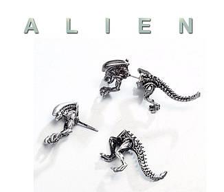 Серьга кафф на одно ухо Чужой Alien 1 штука