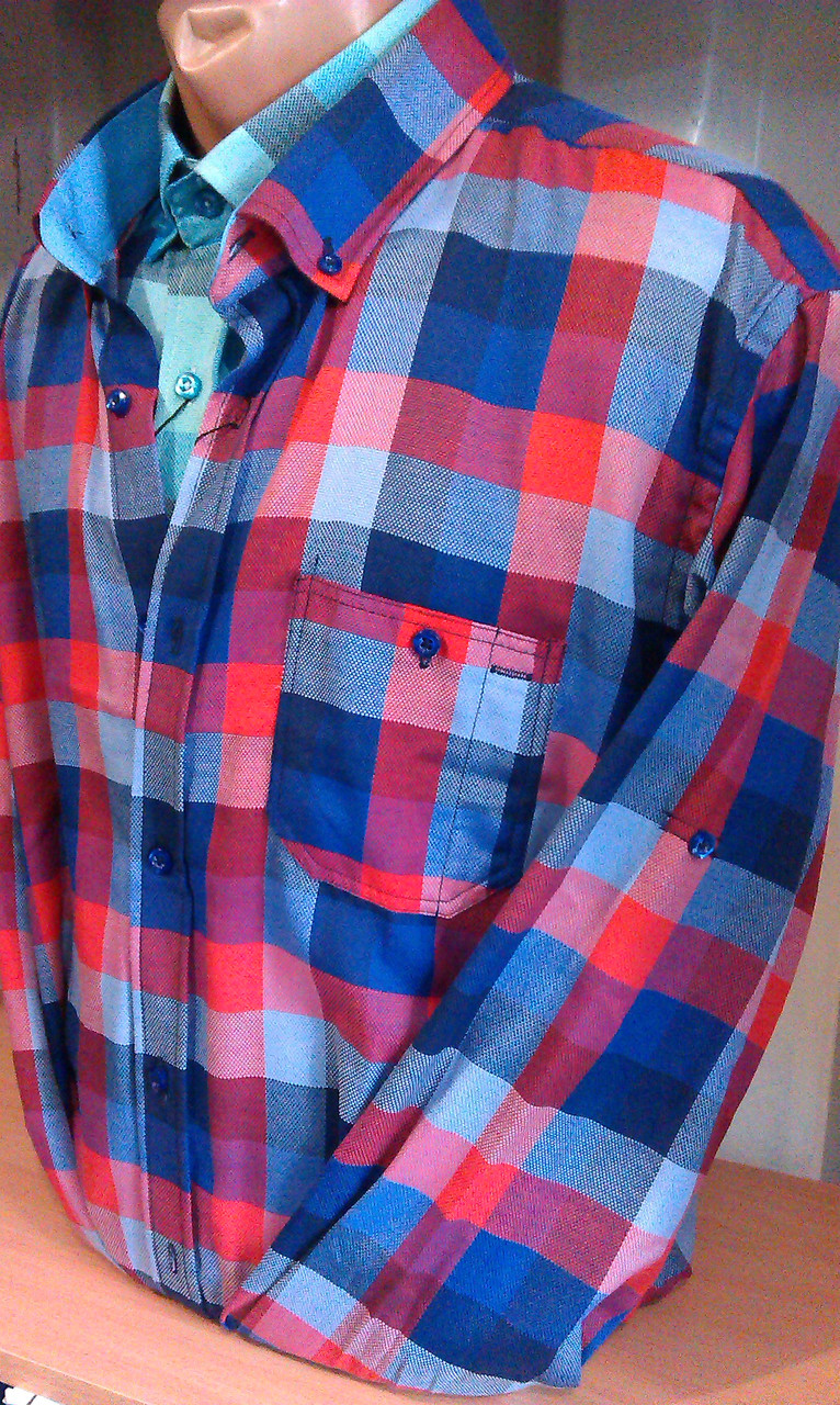 Сорочка чоловіча клітина з довгим рукавом +3/4 приталка з кишенею DERGI