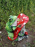 Садовая фигура Лягушка на мухоморе