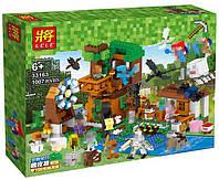 """Конструктор Lele 33163 (Аналог Lego Minecraft) """"Загородный дом + 30 героев""""1007 деталей"""