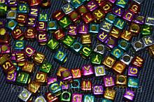 Бусина куб с буквой цветной металик.английский алфавит