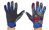 Мотоперчатки текстильные с закрытыми пальцами FOX M-4537-BW (р-р M-XL, черный-синий)