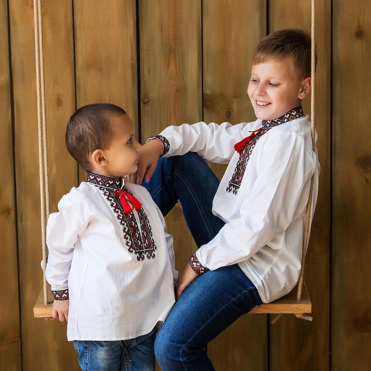 """Рубашка с вышивкой """"Мишко"""" воротник стойкой"""