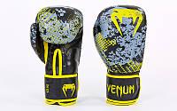 Перчатки боксерские кожаные на липучке VENUM TRAMO VL-5792 (р-р 10-14oz, черный-желтый)
