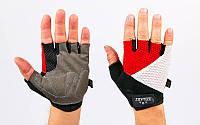 Перчатки для фитнеса ZEL ZG-6116 (PVC, PL, открытые пальцы, р-р S-L, синий, красный, серый)