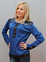 Кофта с кожаными вставками синяя, фото 1