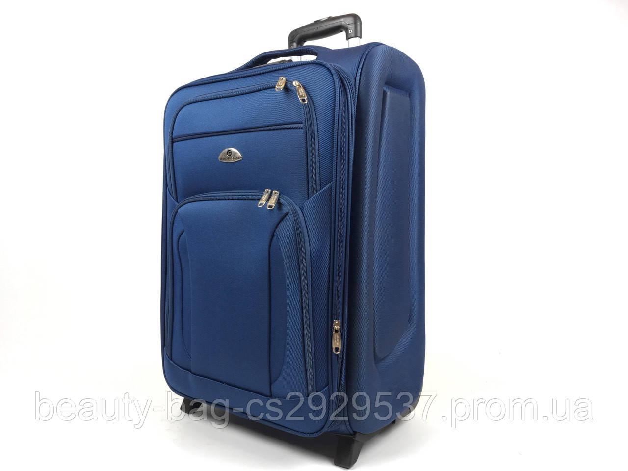 Чемодан тканевый маленького размера 2 колеса Mini синий полоска