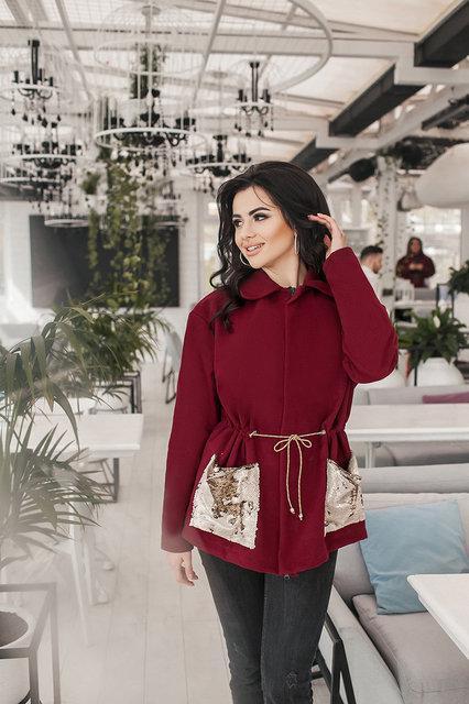 Кашемировое пальто больших размеров 48+свободного кроя на кулиске , декорировано пайеткой  /3 цвета арт 6312-8