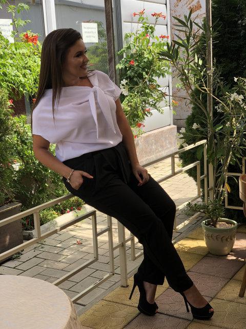 Классически женский брючный костюм больших размеров 50+ блузка и брюки с высокой талией арт 6317-8