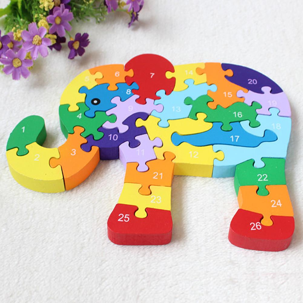 Деревянная 3D головоломка Слон Развивающие игрушки