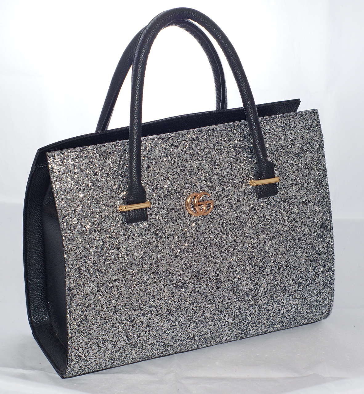 Каркасная женская сумка Gucci (Гуччи), черная с блестками (глиттером)