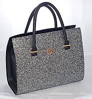 Каркасная женская сумка Gucci (Гуччи), черная с блестками (глиттером), фото 1