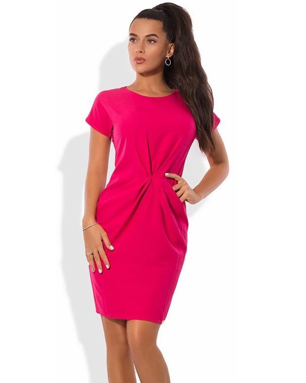 Малиновое мини платье Д-1596