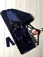 Синий атласный комплект халат майка и шорты
