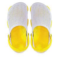 Женские кроксы белые с желтым.