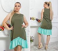 Летнее платье больших размеров 48+ свободного асимметричного кроя , юбка воланы   арт 6325-9/ом