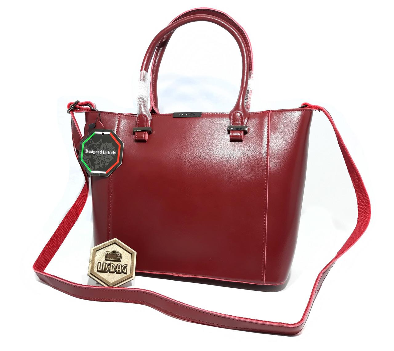 2fdc8dac2841 Большая Бордовая сумка из натуральной кожи Galanty для повседневной носки,  2018 - Интернет магазин Lisbag