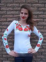 Вышиванка женская Мак большой длинный рукав 154  (Л.Л.Л) , фото 1