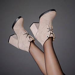 Замшевые женские ботинки на каблуке, деми, зима. Каблук 9 см. Цвет любой