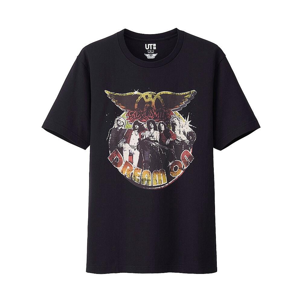 Мужская футболка с принтом Uniqlo Men music icons Aerosmith Black