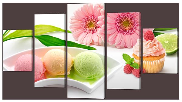 Модульная картина Мороженное и цветы