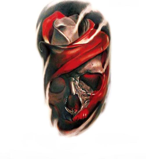 Флеш тату временный рисунок на тело Череп-роза