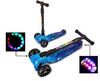 Детский Четырех колесный самокат Scooter Smart Космос