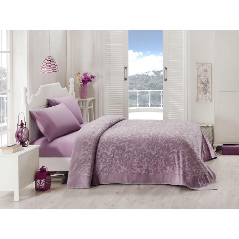 Набор постельного белья TAC сатин + махровая простынь - Lyon orkide евро