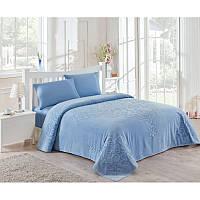 Набор постельного белья TAC сатин + махровая простынь - Dama mavi евро