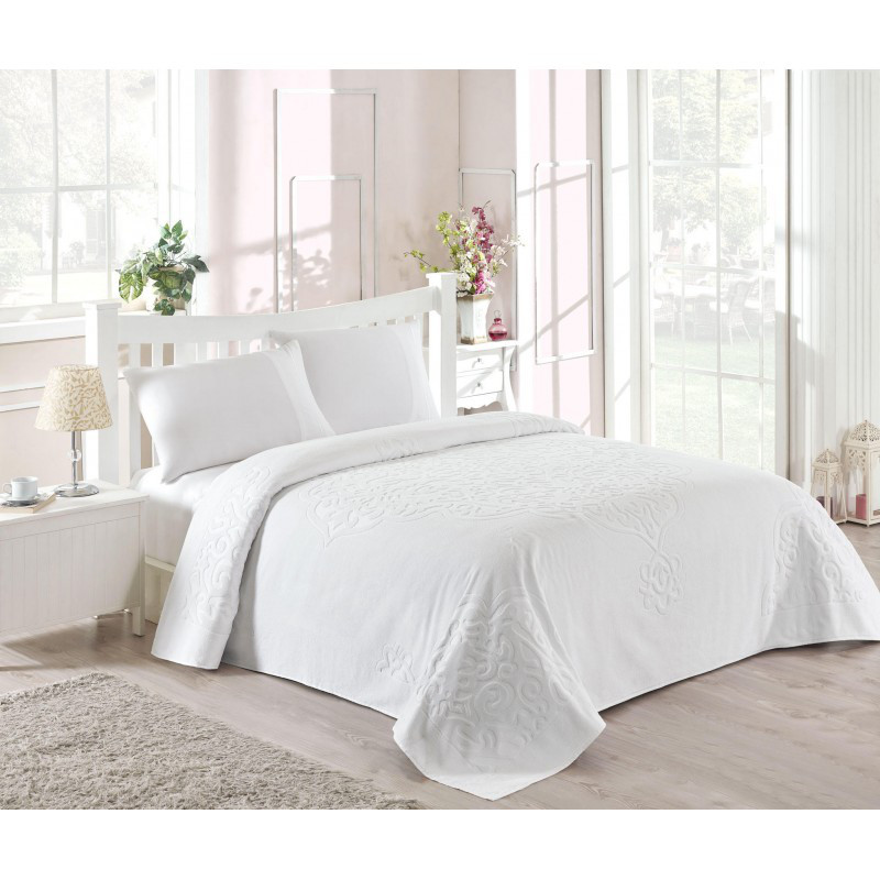 Набор постельного белья TAC сатин + махровая простынь - Dama fildisi евро