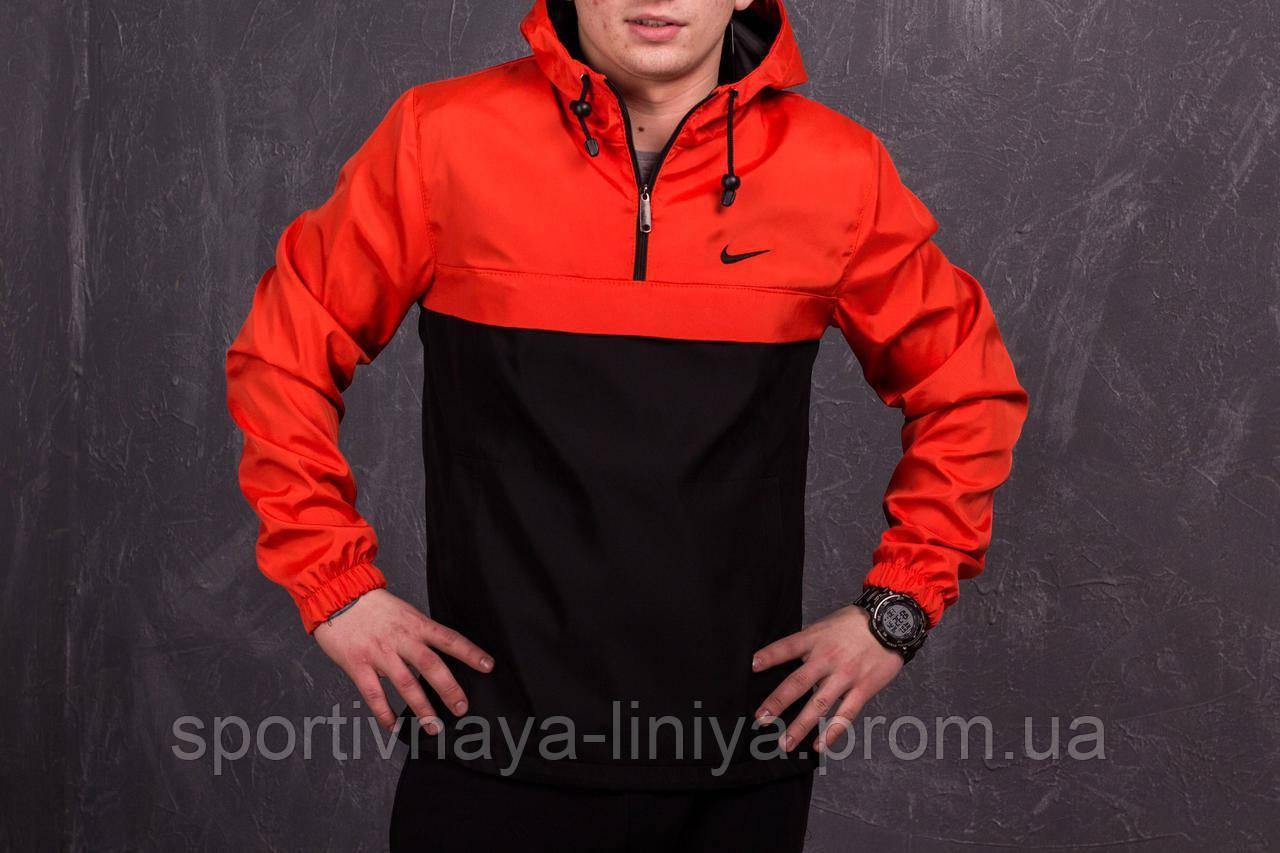 Копия Мужской Анорак оранжевый + черный Nike Найк реплика