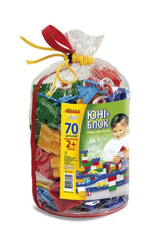 """Конструктор """"Юні-блок"""" 70 елементів, шитий кульок, 0712 Юніка"""