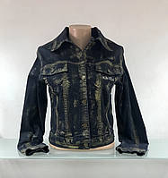 Куртка женская джинсовая в золотом накате Krizia