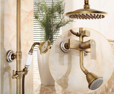 Душевая стойка для ванной комнаты с верхним душем со смесителем и лейкой бронза 0613