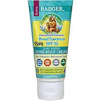 Детский солнцезащитный крем, широкий спектр SPF 30, ромашка и календула, Badger Company,  (87 мл)