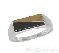 """Чоловічий срібний перстень із золотою пластиною """"Арій"""", фото 1"""